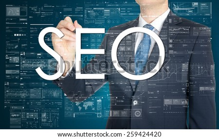 businessman writing. SEO. Search engine optimization. - stock photo