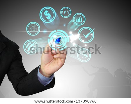 Businessman writing social media - stock photo