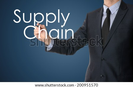 businessman writing supply chain - stock photo
