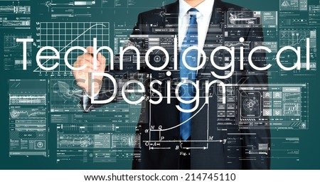 Businessman writing technological design on transparent board and sketching some graphs