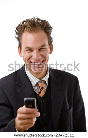Businessman writing text message on mobile phone, white background. - stock photo