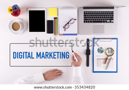 Businessman Writing the Words DIGITAL MARKETING Concept - stock photo