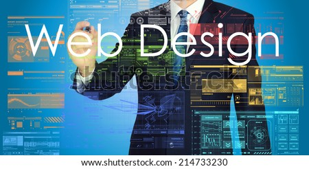 businessman writing web design  - stock photo