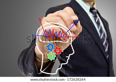 Businessman wrote Brain concept for back up something in your system - stock photo
