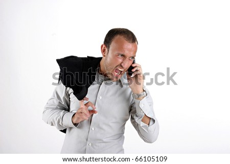 businessman yelling at phone