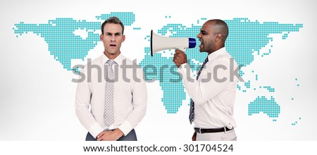 Businessman yelling with a megaphone at his colleague against green world map on white background - stock photo