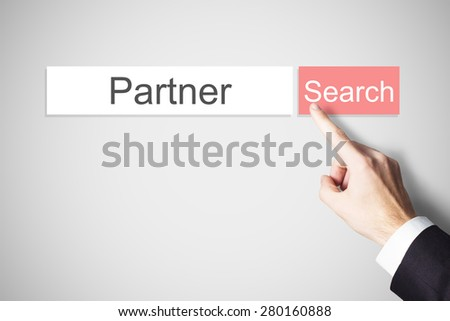 businessmans finger pushing red search button partner dating - stock photo