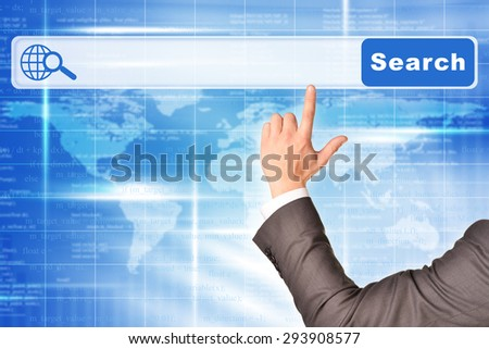 Businessmans hand on abstract blue background with browser