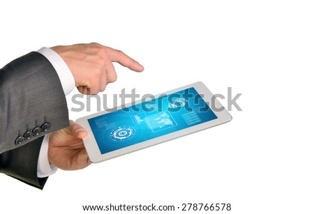 Businessmans hands holding tablet on isolated white background