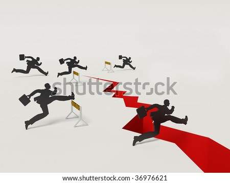 businessmans run  to success on isolated background - stock photo