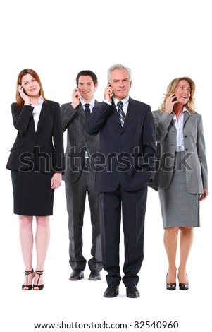 businessmen and businesswomen with mobile