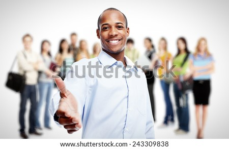 Businessmen and professional workers group. Team Working. - stock photo