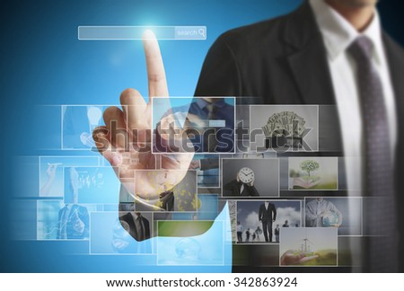 businessmen and Reaching images streaming, digital photo album - stock photo