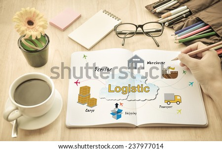 Businessmen are planning about logistics. - stock photo