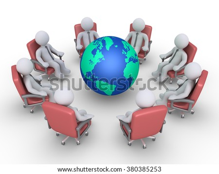 Businessmen are sitting in a circle around the globe