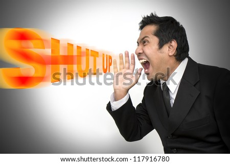 Businessmen are very very angry bawl shut up - stock photo