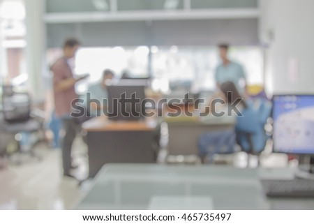 Businessmen blur in the workplace.Table work Top And Blur Office with computer of Background.Abstract  , shallow depth of focus.