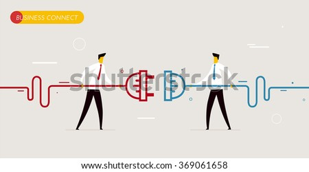 Businessmen connect connectors.  - stock photo
