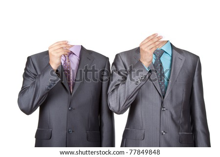 Businessmen covering heads with a cardboard, blank paper in face isolated over white background. Concept idea.
