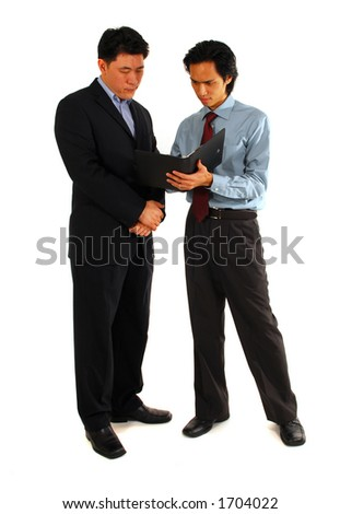 Businessmen discussing a project. Isolated on white.