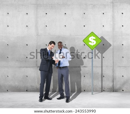 Businessmen Discussion Dollar Financial Issues Business Concept - stock photo