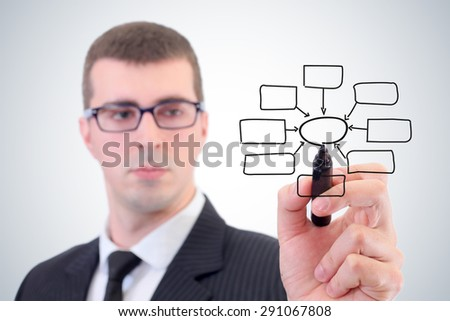 Businessmen draw diagrams - stock photo