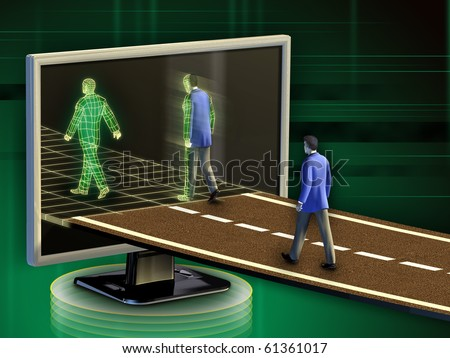 Businessmen entering into the digital world. Digital illustration. - stock photo