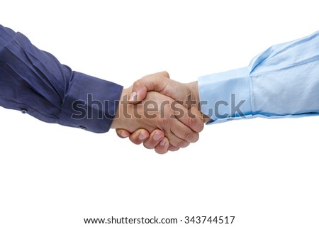 Businessmen firmly handshaking isolated