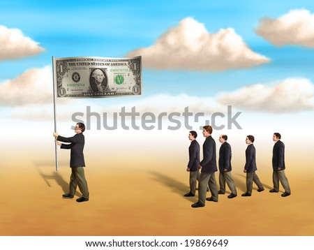 Businessmen following a dollar flag. Digital illustration - stock photo