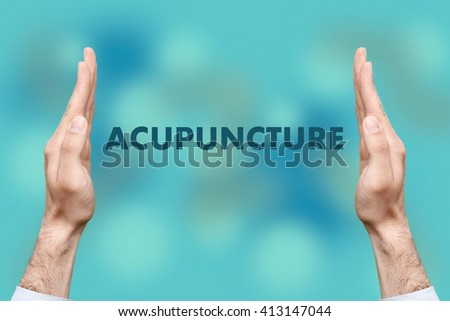 "Businessmen from both hands "" ACUPUNCTURE "" writes - stock photo"