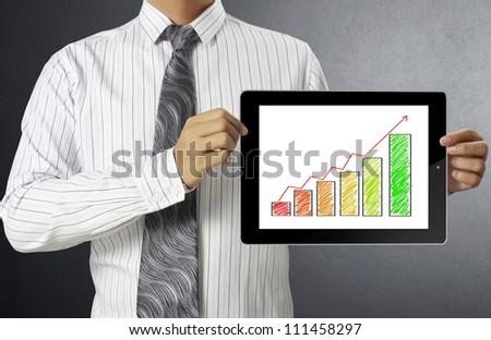 Businessmen graph on tablet  and show tablet