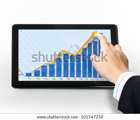 Businessmen, hand pointing on touch screen graph on a tablet
