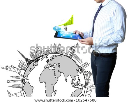 Businessmen, hand pointing on touch screen graph on a tablet  isolated on white background - stock photo