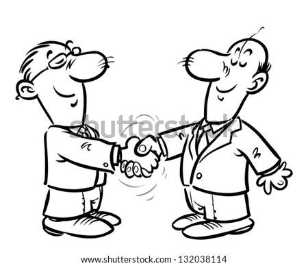 Businessmen handshake. Outline version. - stock photo