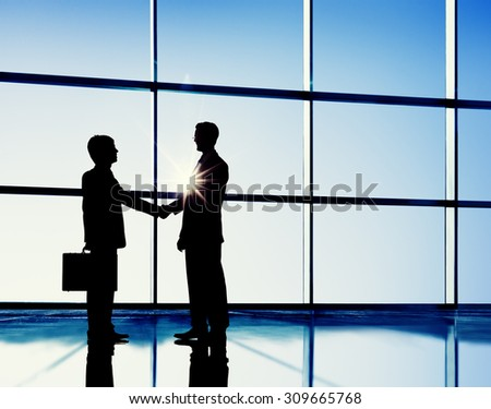 Businessmen Handshaking Contract Corporate Business Concept - stock photo
