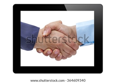 Businessmen handshaking on tablet PC screen isolated