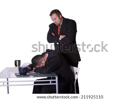 Businessmen in an Office Caught Sleeping on the Job - Isolated Background - stock photo