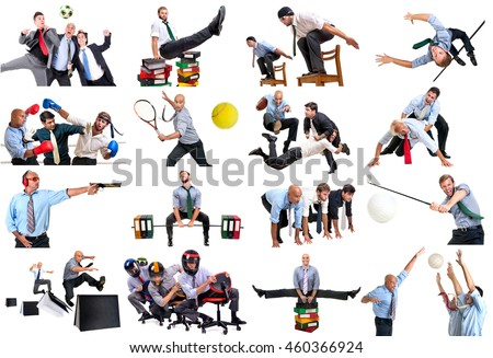 Businessmen in several sports isolated in white