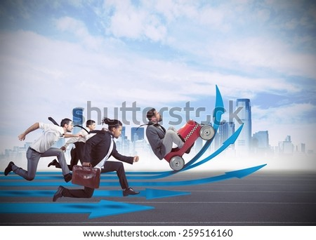 Businessmen in the race to financial growth - stock photo