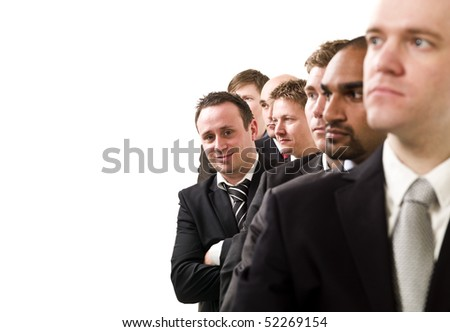Businessmen on a line isolated on white background
