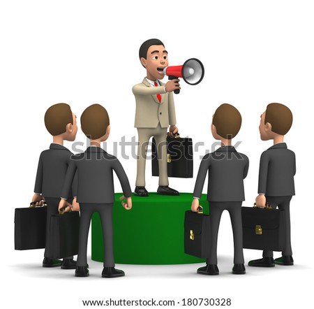 businessmen on the podium with a horn - stock photo