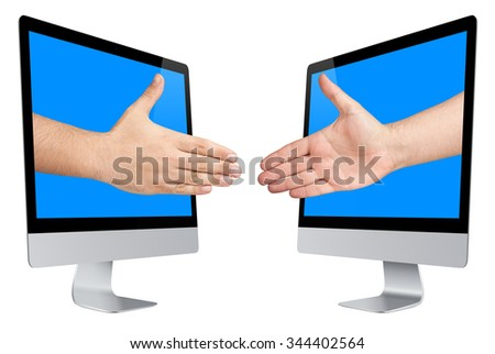 Businessmen or salesmen are about to handshaking hands coming out from computer screen isolated  - stock photo