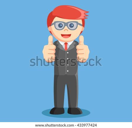 businessmen raised his two thumb - stock photo