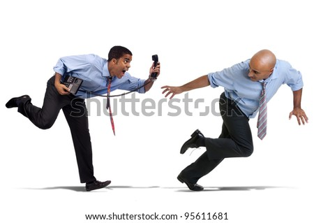 Businessmen running with phone isolated in white - stock photo
