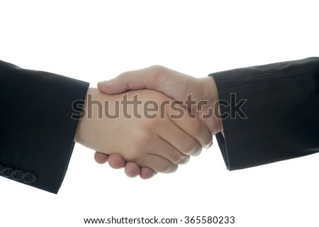 Businessmen shaking hands and celebrating. Isolated on white background with copy space.
