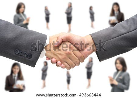 Businessmen shaking hands,business and office concept