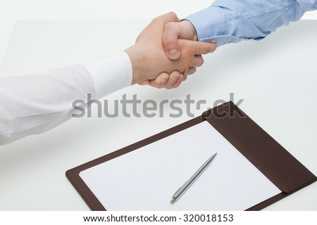 Businessmen shaking hands each other, white background