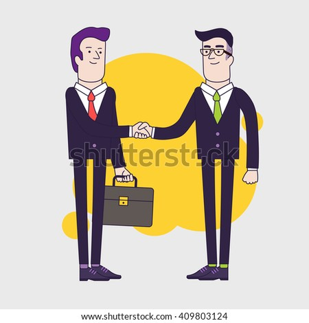 Businessmen shaking hands. Two businessmen have business agreement. Successful negotiation of business. Linear flat illustration - stock photo