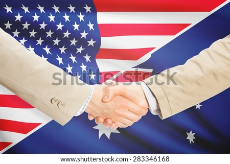 Businessmen shaking hands - United States and Australia