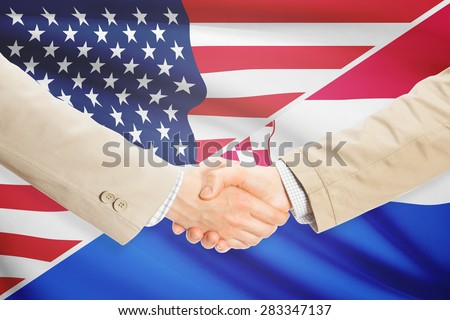 Businessmen shaking hands - United States and Croatia